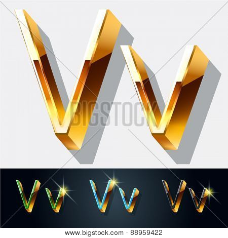 Vector set of elegant gold jewelry font. Letter V