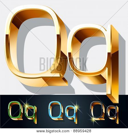 Vector set of elegant gold jewelry font. Letter Q