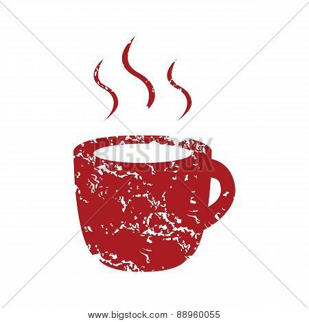 Red grunge cup of coffee logo