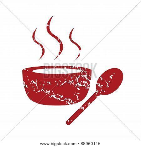 Red grunge soup logo