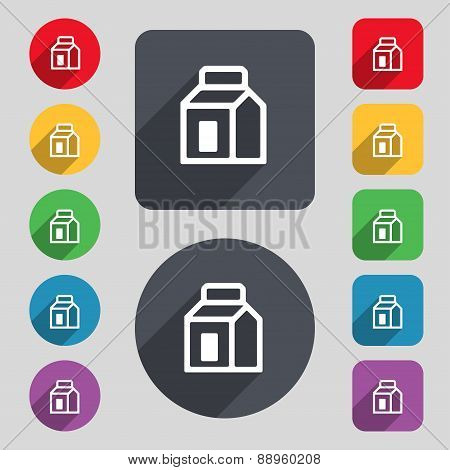 Milk, Juice, Beverages, Carton Package Icon Sign. A Set Of 12 Colored Buttons And A Long Shadow. Fla