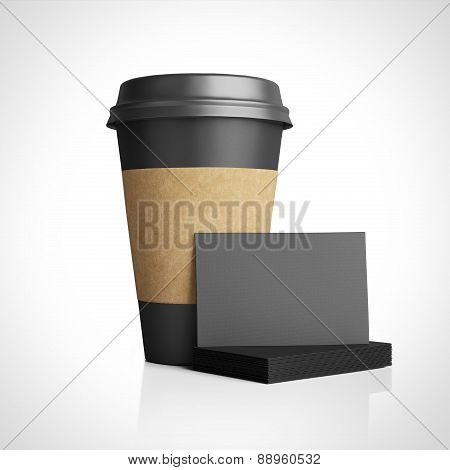 Black Paper Glass And Black Business Cards Template. 3D Rendering