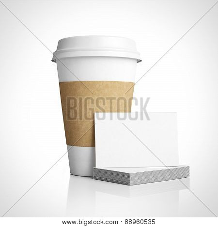 White Paper Cup And Business Cards. 3D Rendering