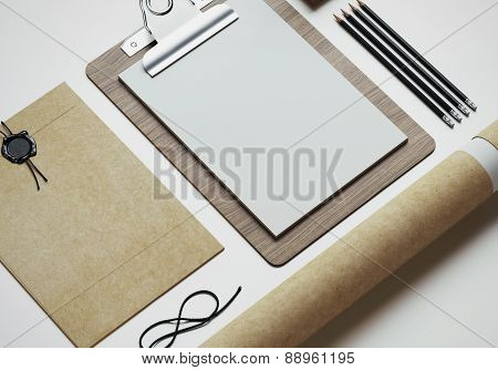 Set Of Stylish Elements On White Paper Background. 3D Render