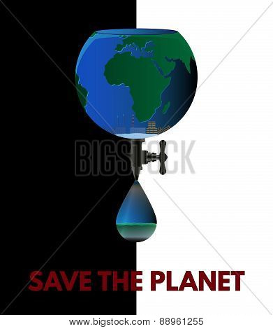 Save The  Planet. Eco Poster On Black And White Background.
