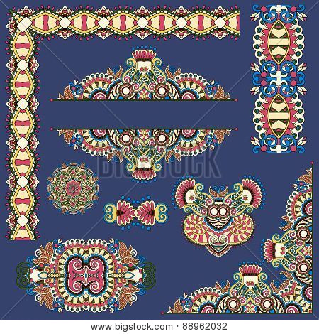 set of paisley floral design elements for page decoration