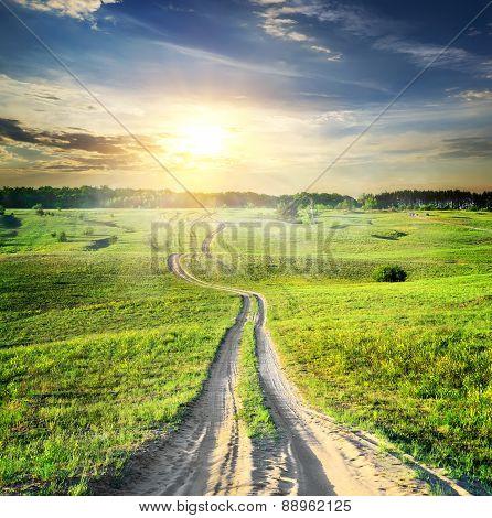 Road through spring field
