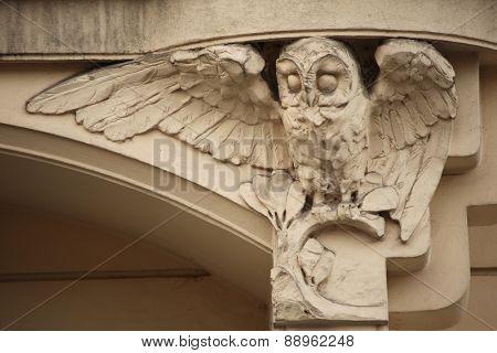 Owl. Art Nouveau building decoration at Bubenecska Street in Prague, Czech Republic.