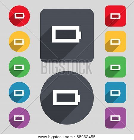 Battery Empty Icon Sign. A Set Of 12 Colored Buttons And A Long Shadow. Flat Design. Vector