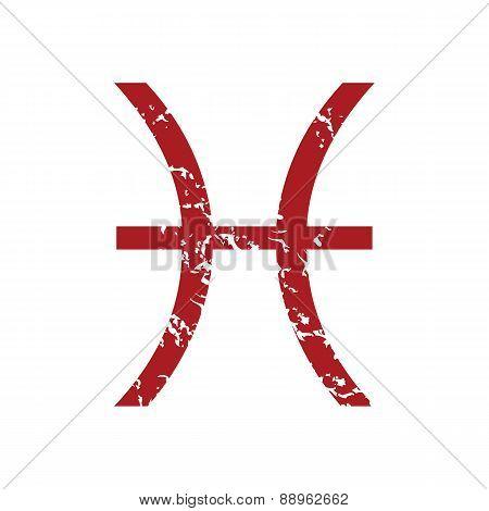 Red grunge Pisces logo