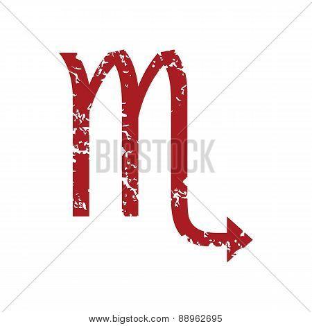 Red grunge Scorpio logo