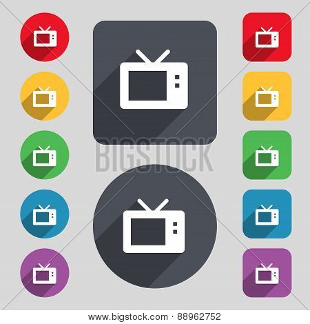 Retro Tv Mode Icon Sign. A Set Of 12 Colored Buttons And A Long Shadow. Flat Design. Vector