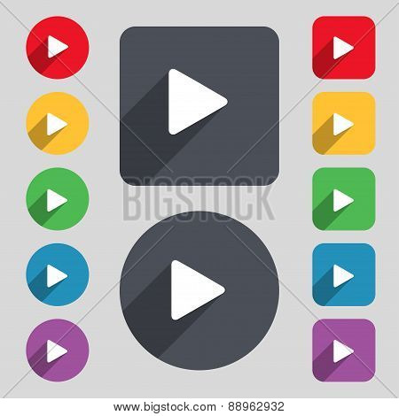 Play Icon Sign. A Set Of 12 Colored Buttons And A Long Shadow. Flat Design. Vector