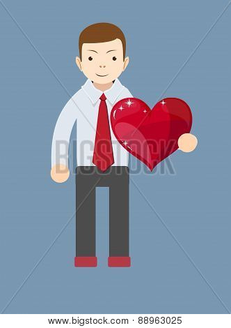 Cartoon businessman smiling and holding a big red heart. Vector