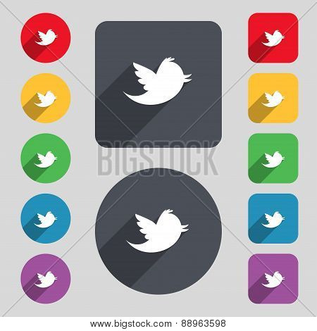 Social Media, Messages Twitter Retweet Icon Sign. A Set Of 12 Colored Buttons And A Long Shadow. Fla