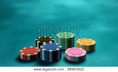 Casino Chips Low Angle Blue Table