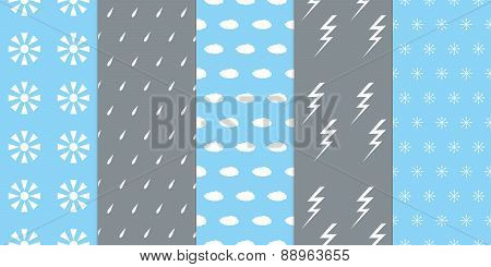 Set Of Seamless Weather Patterns
