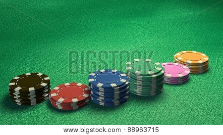 Casino Chips Of Bet Side Angle