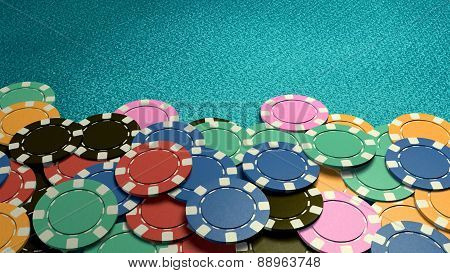 Casino Chips Show Hand Front Blue Table