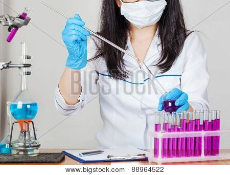 Laboratorian Works With Reagents Closeup