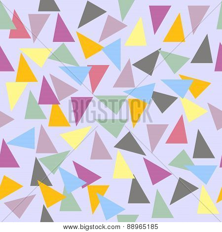 Abstract Seamless Geometric Pattern With Varicolored Triangles