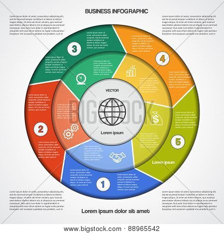 Circular Infographic Template With Text Areas On Five Positions