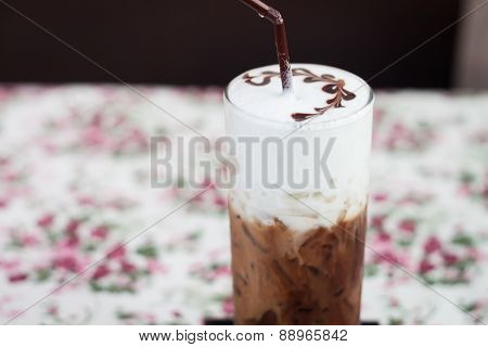 Iced Mocha With Milk Micro Foam
