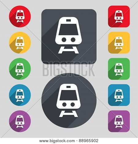 Train Icon Sign. A Set Of 12 Colored Buttons And A Long Shadow. Flat Design. Vector