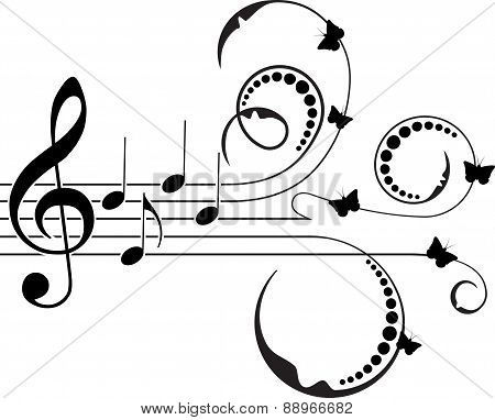 Treble clef with music notes, floral decoration and butterflies. Vector illustration for your design