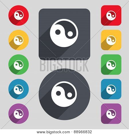 Ying Yang Icon Sign. A Set Of 12 Colored Buttons And A Long Shadow. Flat Design. Vector