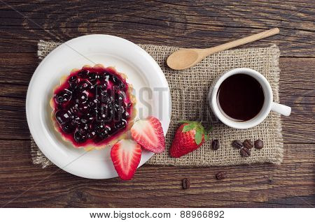 Coffee, Cake With Black Currants And Strawberry