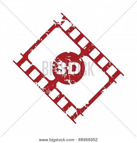 Red grunge 3d film logo