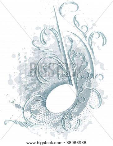 Musical note with decorative branches and shadow in the grunge style.