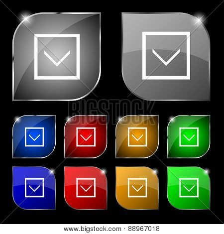 Arrow Down, Download, Load, Backup Icon Sign. Set Of Ten Colorful Buttons With Glare. Vector