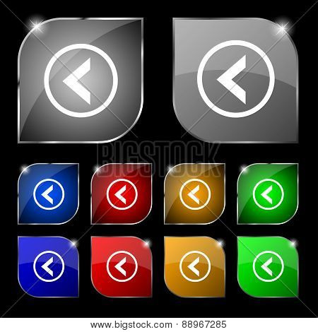 Arrow Left, Way Out Icon Sign. Set Of Ten Colorful Buttons With Glare. Vector