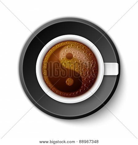 Coffee Cup with Yin-Yang Symbol
