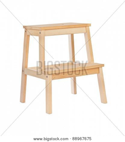 Wood ladder isolated on white background