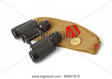Soviet Army soldiers forage-cap and binoculars isolated on white background