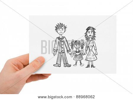 Hand with drawing happy family isolated on white background