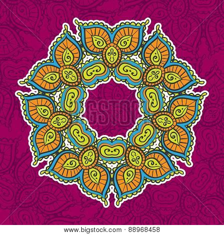 colored vintage circular pattern of indian