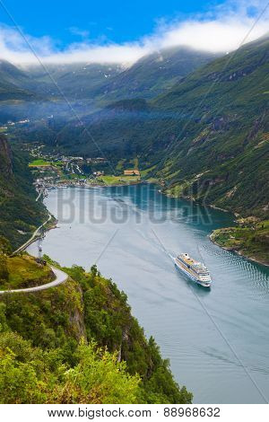 Ship in Geiranger fjord Norway - nature and travel background