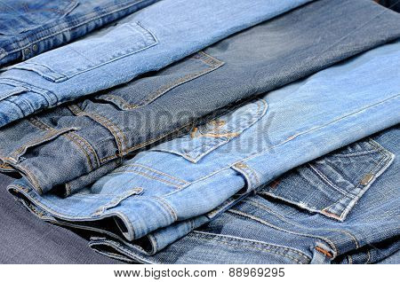 Colored Jeans Arranged In One Row