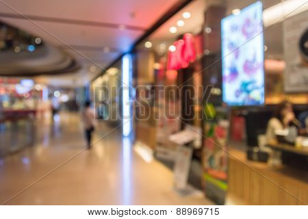 Blur Background Photograph Of Long Hallway In The Department Store Building