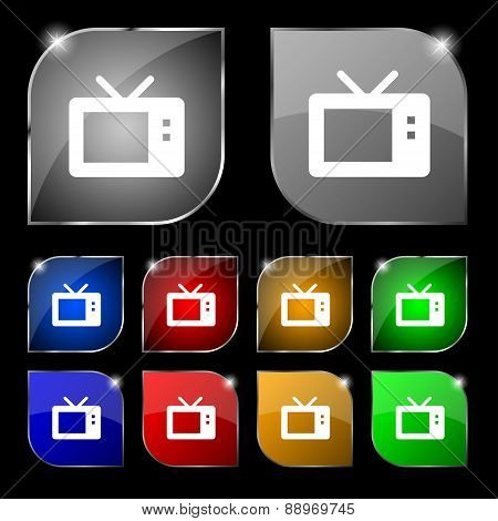 Retro Tv Mode Icon Sign. Set Of Ten Colorful Buttons With Glare. Vector