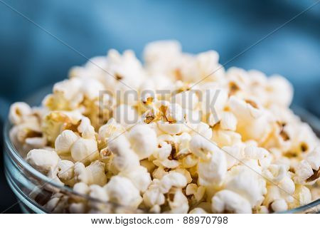 Glass Bowl Full Of Popcorn