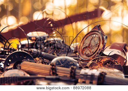 Composition of the old broken watches