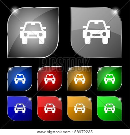 Auto Icon Sign. Set Of Ten Colorful Buttons With Glare. Vector
