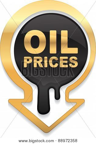 Oil prices golden design with down arrow showing a decline in oil prices. Vector illustration.