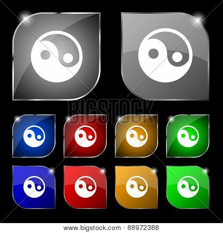 Ying Yang Icon Sign. Set Of Ten Colorful Buttons With Glare. Vector
