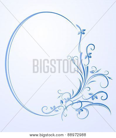 Decorative blue oval frame with empty space for text. Vector illustration for your design.